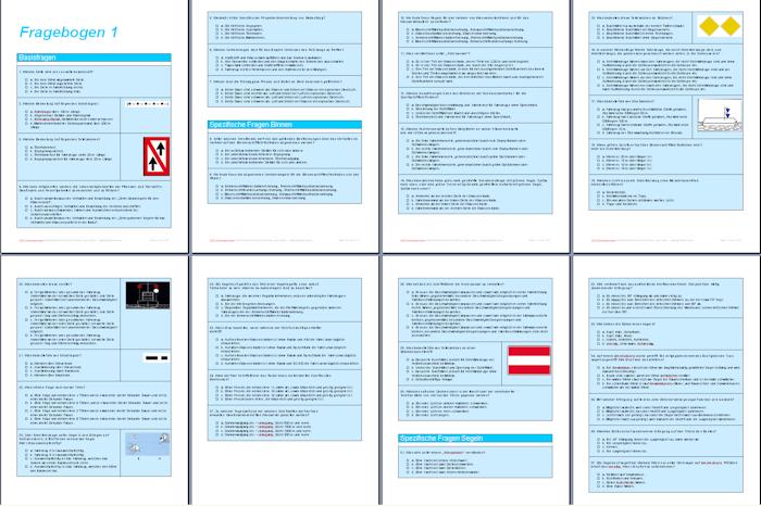 Prüfungsbögen Sportbootführerschein Binnen - Fragebögen als PDF Download