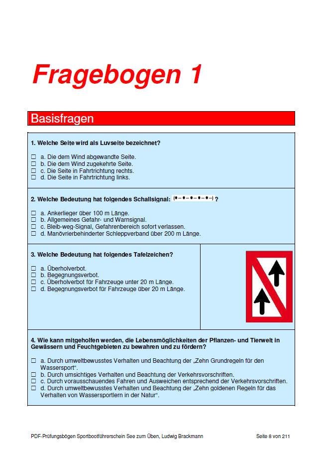 Prüfungsbogen Sportbootführerschein See - Frage 1, Seite 1