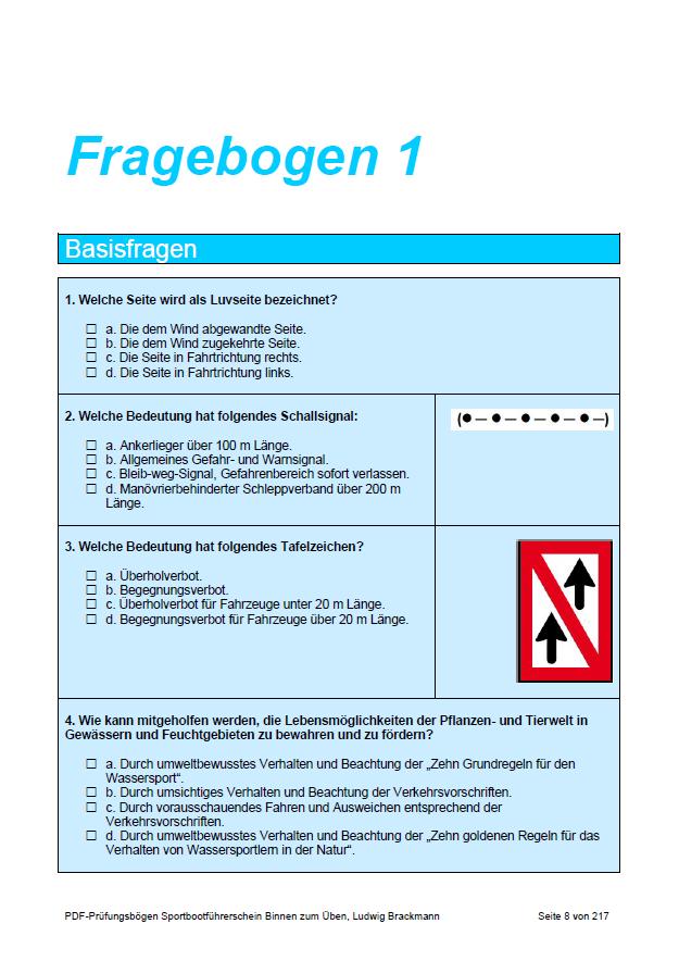 SBF-Binnen: Fragebogen 1, Seite 1
